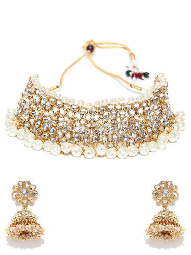 911d050d8 Ankur Traditional Gold Plated Kundan and Pearl Choker Necklace Set for Women