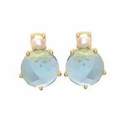Hydro Blue Topaz & Pearl Gemstone Earring