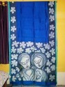 Blue Hand Paint Silk Saree