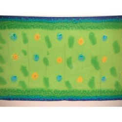 Lime Green and Blue Paravoile Hand Prints Sarong