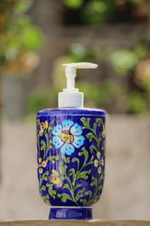 Handmade Blue Pottery Soap Dispenser
