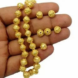 Fancy 8mm Round Gold Plated Copper Bead for Jewelry Making