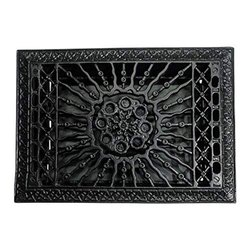 Hadadezer Black Antique Iron Wall and Floor Register with Cast Iron Louver