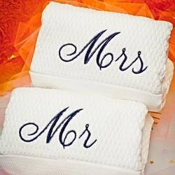 White Embroidered Personalized Cotton Towel