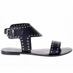 Ladies Black Leather Sandal