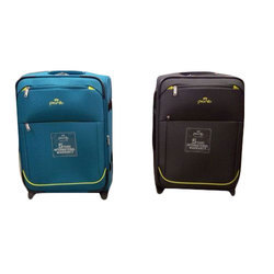 Polyester Black and Blue Travel Trolley Bag