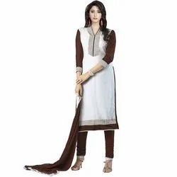 Rajnandini White Heavy Glass Cotton Embroidered Unstitched With Zari Work Weaved Dupatta