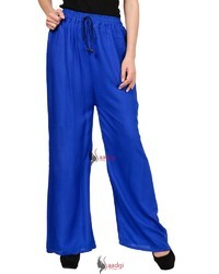 Saadgi Plain Solid Pure Rayon Plazzo Pants for Women