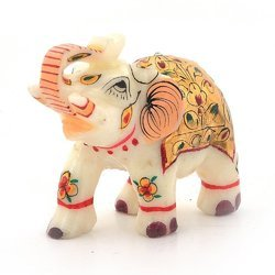 Gold Painting Marble Elephant