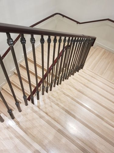 Bar Stainless Steel , Cast Iron Stairway Railing With Wooden Rail