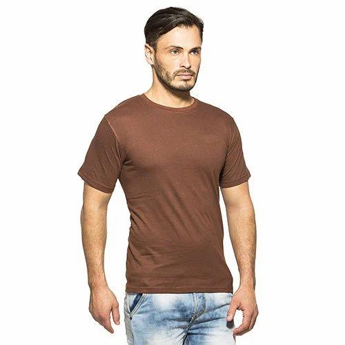 c790ffde0cdc Cotton Plain Men Brown T-Shirt