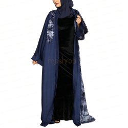 Navy Blue Faux Fur Abaya