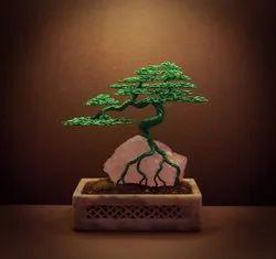 India Unique Green Bonsai Wire Tree, For Decor, Size: Medium