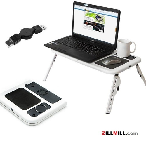 Brown Wood Portable E- Laptop Table With Inbuilt Cooling Fan