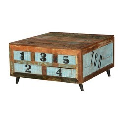 Brown and Blue Wood Reclaimed Number Coffee Table