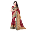 Pan Canvas Bandhani Saree