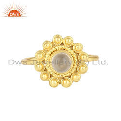 Crystal Quartz Gemstone Designer Gold Plated Handmade 925 Silver Rings