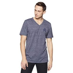 Blue Cotton Men V Neck T Shirt