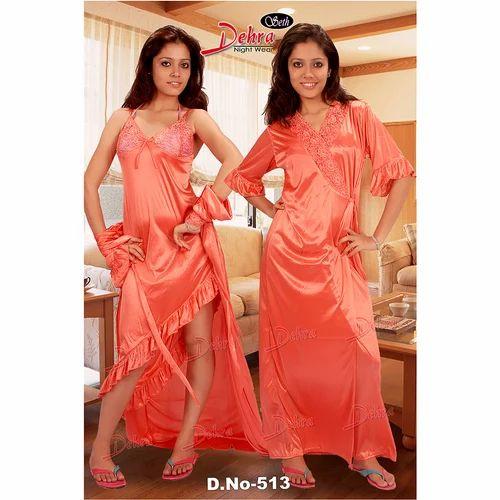 Ladies Satin 2 Piece Fancy Nighty 0c28b3589