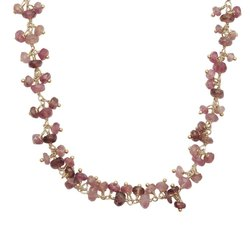 Pink Tourmaline Cluster Beaded Chain Necklace
