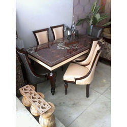 Wood And Marble Dining Table Set