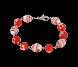 Red Multi Color Glass Bead Bracelet