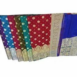 Banarasi Silk Ladies Ethnic Wear Banarasi Saree, 6.3 m (with blouse piece), Packaging Type: Box