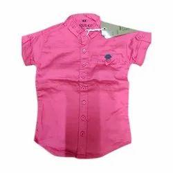 Cotton Casual Wear Kids Half Sleeve Plain Shirt