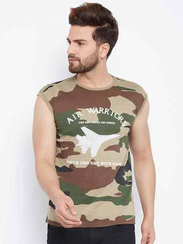 Casual Wear Men Sleeveless Round Neck Camouflage T Shirt, Size: S-XL
