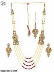 Priyaasi Maroon Multiline Rajwada Necklace Set With Tikka