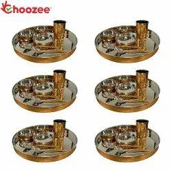 Choozee - Copper Thali Set of 6 (42 Pcs) Thali, Bowl, Spoon & Glass