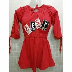 Printed Ladies Red Cotton Tunic Top, Size: L-XXL
