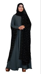 Women's Beads Work Nida Abaya with Hijab Dupatta