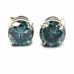 Blue/Green Moissanite 2 ct Stud Earrings