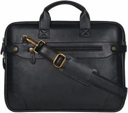 Leatherette Laptop Bag - Black