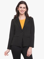 Polyester Martini Women Black Lapel Solid Formal Blazer