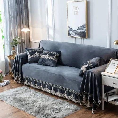 Plain Blue Striped Silk Sofa Cover Rs, Blue Sofa Covers