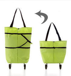 Folding Oxford Cotton Foldable Shopping Bag with Wheel