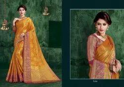 Reynolds Saree Leno Silk Traditional Wear Good Looking Silk Saree