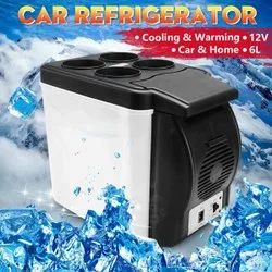 white & blue ABS Portable Electric 6 litres Cooling And Warming Refrigerator, For Car