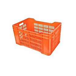 Orange & Green HDPE Vegetable Plastic Crate, Capacity: 44 Litre