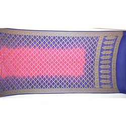 Blue and Pink Color Banarasi Georgette Bandhani Dupatta