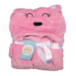 Baby Blanket With Hood Pink Bear