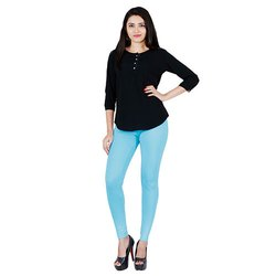 Feather Soft 95% Cotton And 5% Spandex Ladies Vibe Blue Ankle Length Leggings