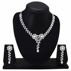 Diamond Silver Plated Designer Necklace Set