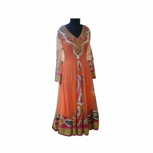 Net Ladies Anarkali Designer Suit, Dry clean