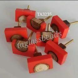 Red And Wooden Resin Door Knobs