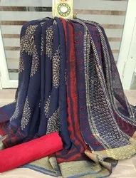 Chiffon Block Printed Saree