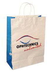 White and Blue Printed Paper Bag
