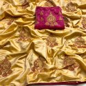 Beautiful Sana Silk Saree With Embroidered Work